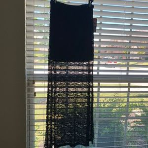 Lily White Black Lace Maxi Skirt Size Small NWT